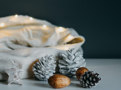 Natural And Painted Pinus Nigra and Sylvestris Pinecones In a Bowl Decoration
